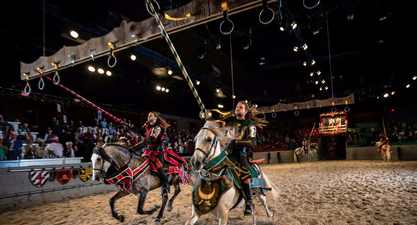 Tournament of Kings is Las Vegas' ultimate dinner and a show experience. This medieval, live-action production takes place in a seat theater-in-the-round arena and immerses the audience in a tale of valor and treachery.